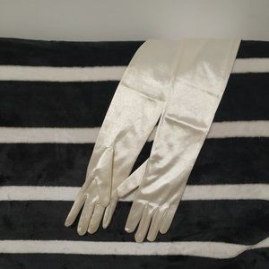 Paris France Ivory Stretch Nylon Bridal Gloves